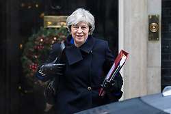 © Licensed to London News Pictures. 20/12/2017. London, UK.  Prime Minister Theresa May leaves 10 Downing Street on her way to Parliament for Prime Minister's Questions. Photo credit: Rob Pinney/LNP