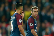 Paris Saint Germain's Brazilian defender Marquinhos talks to Paris Saint Germain's Brazilian forward Neymar Jr during the UEFA Champions League, Group B football match between Paris Saint-Germain and Bayern Munich on September 27, 2017 at the Parc des Princes stadium in Paris, France - Photo Benjamin Cremel / ProSportsImages / DPPI