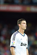 A dejected Cristiano Ronaldo leaves the pitch after the 3-2 defeat. Barcelona v Real Madrid, Supercopa first leg, Camp Nou, Barcelona, 23rd August 2012.