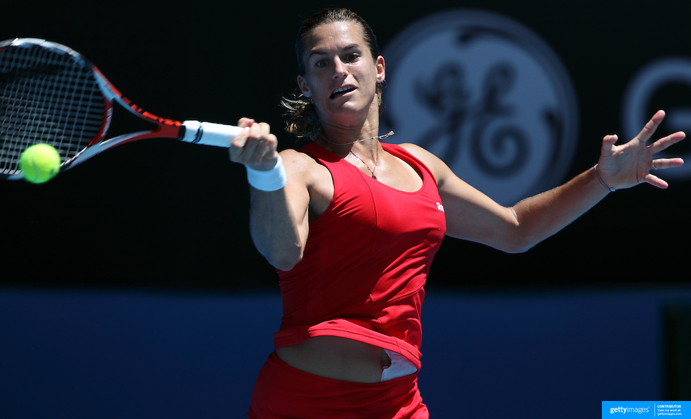 Amelie Mauresmo of France losing to Victoria Azarenka of Belerus at the Australian Tennis Open on January 24, 2009 in Melbourne, Australia. Photo Tim Clayton    .