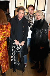 Fashion designer BETTY JACKSON and children OLIVER JACKSON and PASCALE JACKSON at a private view of artist Natasha Law's work entitled 'Hold' held at Eleven, 11 Eccleston Street, London SW1 on 12th January 2006.<br /><br />NON EXCLUSIVE - WORLD RIGHTS