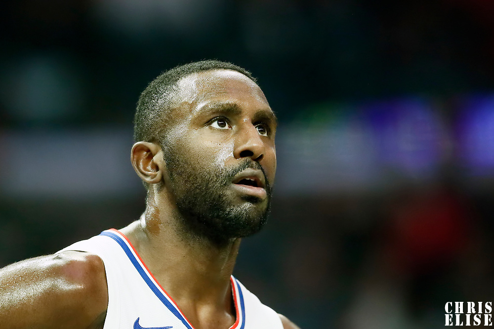 LOS ANGELES, CA - OCT 28: Patrick Patterson (54) of the LA Clippers rests during a game on October 28, 2019 at the Staples Center, in Los Angeles, California.