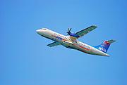 Israel, Arkia propellor aeroplane on an internal flight after takeoff