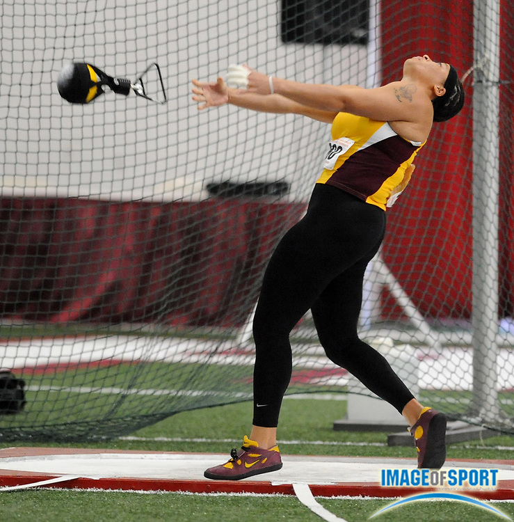 Mar 14, 2008; Fayetteville, AR, USA; Tai Battle of Arizona State was 16th in the women's weight throw at 60-0 1/2 (18.30m) in the NCAA indoor track and field championships at the Randal Tyson Center.