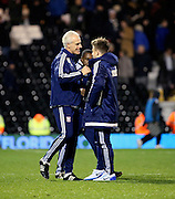 Mick McCarthy celebrating the win during the Sky Bet Championship match between Fulham and Ipswich Town at Craven Cottage, London, England on 15 December 2015. Photo by Matthew Redman.