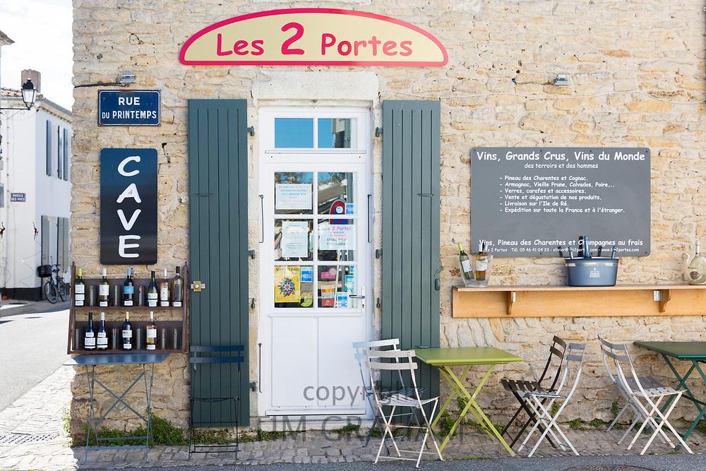 Wine tasting shop bar Les 2 Portes in Rue de Printemps, wooden shutters, Les Portes en Re, Ile de Re, France