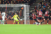 Goal - Onel Hernandez (25) of Norwich City scores a goal to make the score 1-1 during the EFL Cup 4th round match between Bournemouth and Norwich City at the Vitality Stadium, Bournemouth, England on 30 October 2018.