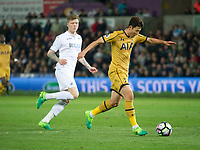 Football - 2016 / 2017 Premier League - Swansea City vs. Tottenham Hotspur<br /> <br /> Heung-Min Son of Tottenham Hotspurs is caught offside on the break , at The Liberty Stadium.<br /> <br /> COLORSPORT/WINSTON BYNORTH