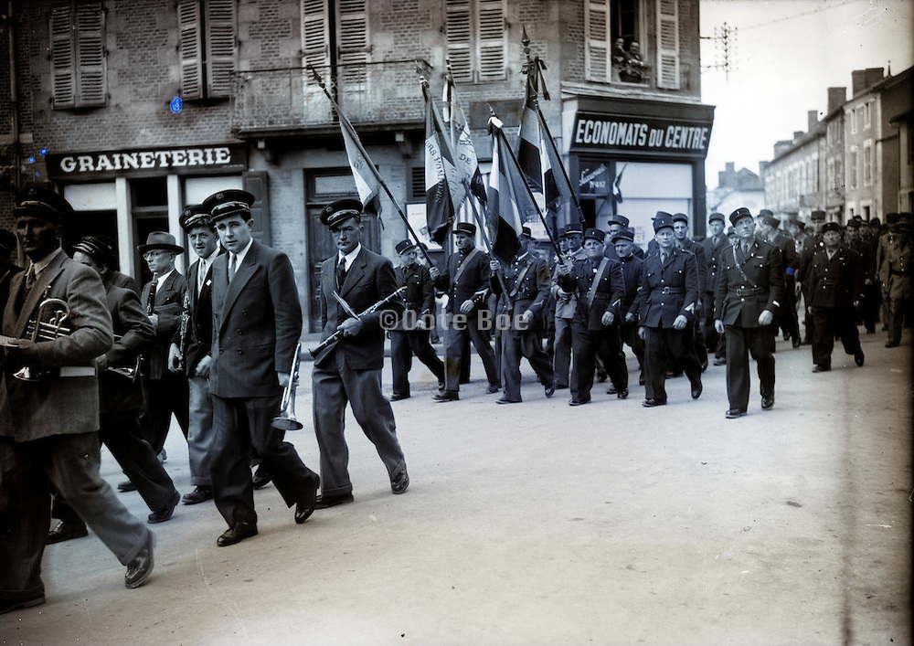 police gendarmes and marching band 1950s France