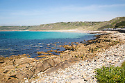 Coastal scenery rocky foreshore, Sennan Cove, Land's End,  Cornwall, England, UK