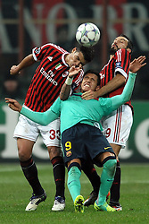 23.11.2011, Giuseppe Meazza Stadion, Mailand, ITA, UEFA CL, Gruppe H, AC Mailand (ITA) vs FC Barcelona (ESP), im Bild Thiago SILVA Milan, Alexis SANCHEZ Barcelona, Gianluca ZAMBROTTA Milan // during the football match of UEFA Champions league, group H, between Gruppe H, AC Mailand (ITA) and FC Barcelona (ESP) at Giuseppe Meazza Stadium, Milan, Italy on 2011/11/23. EXPA Pictures © 2011, PhotoCredit: EXPA/ Insidefoto/ Andrea Staccioli..***** ATTENTION - for AUT, SLO, CRO, SRB, SUI and SWE only *****