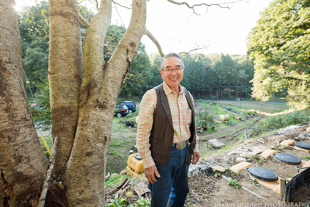 Tadao Yuge gives a tour of his biogas operation made from cow manure.