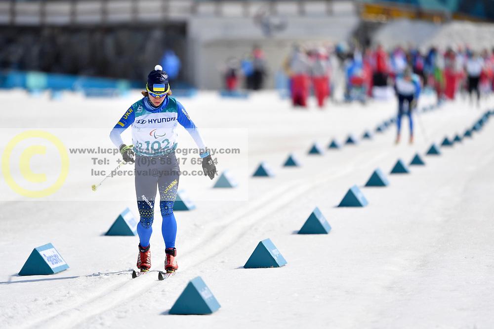 LIASHENKO Liudmyla UKR LW8 competing in the ParaSkiDeFond, Para Nordic Skiing, Sprint at  the PyeongChang2018 Winter Paralympic Games, South Korea.