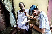One intragale of the health care provided for the communitty of Dumay in Haiti by Healing Art Missions is home visits to patients who cannot make the walk to the clinic. Dr. Tracee Laing, who started Healing Art Missions in 1998, makes these visits every time she is in Dumay, visiting with the patients, checking their vitals, making sure their medications are still working for them.