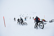 Carnage on the slopes during stage 5 of the first Snow Epic, the Trübsee climb near Engelberg, in the heart of the Swiss Alps, Switzerland on the 17th January 2015<br /> <br /> Photo by:  Nick Muzik / Snow Epic / SPORTZPICS