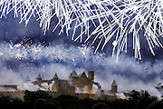 14 July Bastille day fireworks, Carcassonne, La Cite