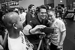 Los Angeles, California, USA - February 25, 2015: Raquel Pennington poses for pictures with fans after working out at the UFC Gym for her upcoming bout against Holly Holm at UFC 184 at the Staples Center in Los Angeles, California.  Ed Mulholland for ESPN