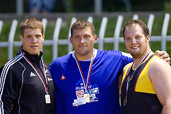 Marko Spiler, Miro Vodovnik and Luka Gorjup at medal ceremony after the shot put at Slovenian National Championships in athletics 2010, on July 17, 2010 in Velenje, Slovenia. (Photo by Vid Ponikvar / Sportida)