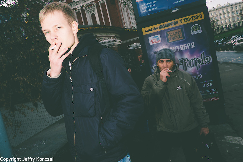 Smokers in Moscow, Russia photographed prior to the smoking ban.