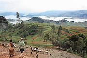 The Bunyonyi Lake and Kabale region of Uganda taken from the treacherous Bunyonyi Road.