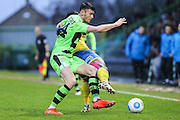Forest Green Rovers Kieffer Moore(14) battles for the ball during the Vanarama National League match between Forest Green Rovers and Torquay United at the New Lawn, Forest Green, United Kingdom on 1 January 2017. Photo by Shane Healey.