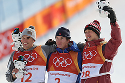 PYEONGCHANG, Feb. 18, 2018  Gold medalist Oystein Braaten of Norway (C), silver medalist Nick Goepper of the United States (L) and bronze medalist Alex Beaulieu-Marchand of Canada pose for group photos after winning the men's ski slopestyle of freestyle skiing at the 2018 PyeongChang Winter Olympic Games, at Phoenix Snow Park, South Korea, on Feb. 18, 2018. Oystein Braaten won the gold medal with 95.00 points. (Credit Image: © Wu Zhuang/Xinhua via ZUMA Wire)