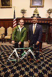 Kicking off the 2016 Philadelphia International Cycling Classic bike race weekend DAVID WILSON, Dept. Man. Dir for Community & Culture and 2015 winner CARLOS BARBERO, pose for pictures during a June 3rd, 2016 press conference at CityHall, Philadelphia Pennsylvania. Pro-cyclist will compete at a 73.8miles/118.7km course for the UCI Women's World Tour and 110.7miles/178.2km for the UCI 1.1 Men's America Tour during the Philadelphia Cycling Classic on Sunday June 5th, 2016.