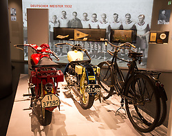 14.05.2013, Alianz Arena, Muenchen, GER, UEFA CL, FC Bayern Muenchen, Erlebniswelt, im Bild Fahrraeder und Motorraeder aus der Anfangszeit // Bicycles and motorcycles from the early days at the world of experience during the open media day of FC Bayern Munich in front of the UEFA Champions League Final 2013 held at the Alianz Arena, Munich, Germany on 2013/05/14