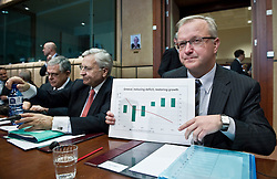 Olli Rehn, The EU's economic and monetary affairs commissioner, right, shows a chart projecting Greece's deficit declining over the next four years, during an emergency meeting of euro zone finance ministers in Brussels, on Sunday, May 2, 2010.Greece accepted an unprecedented bailout from the European Union and International Monetary Fund worth more than 110 billion euros ($146 billion). (Photo © Jock Fistick)