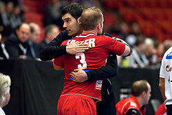 14.01.2011, Himmelstalundshallen, Norrköping, SWE, IHF Handball Weltmeisterschaft 2011, Herren, Österreich vs Brasilien, im Bild, // Austria #3 Patrick Fölser and goalie #12 Nikola Marinovic celebrate the victory against Brazil // during the IHF 2011 World Men's Handball Championship match Austria vs Brazil at Himmelstalundshallen in Norrkoping, Sweden on 14/1/2011. EXPA Pictures © 2011, PhotoCredit: EXPA/ Skycam/ Michael Buch +++++ ATTENTION - ..OUT OF SWEDEN/SWE +++++