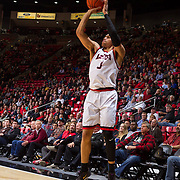 31 January 2017:  The San Diego State Aztecs men's basketball team hosts Wyoming Tuesday night at Viejas Arena. San Diego State guard Trey Kell (3) attempts a three point shot in the second half. The Aztecs beat the Cowboys 77-68 at half time. www.sdsuaztecphotos.com