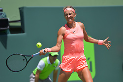 March 29, 2018 - Miami, FL, United States - KEY BISCAYNE, FL - MARCH, 29: Viktoria Azarenka in action during day 11 of the 2018 Miami Open held at the Crandon Park Tennis Center on March 29, 2018 in Key Biscayne, Florida.     Credit: Andrew Patron/Zuma Wire (Credit Image: © Andrew Patron via ZUMA Wire)