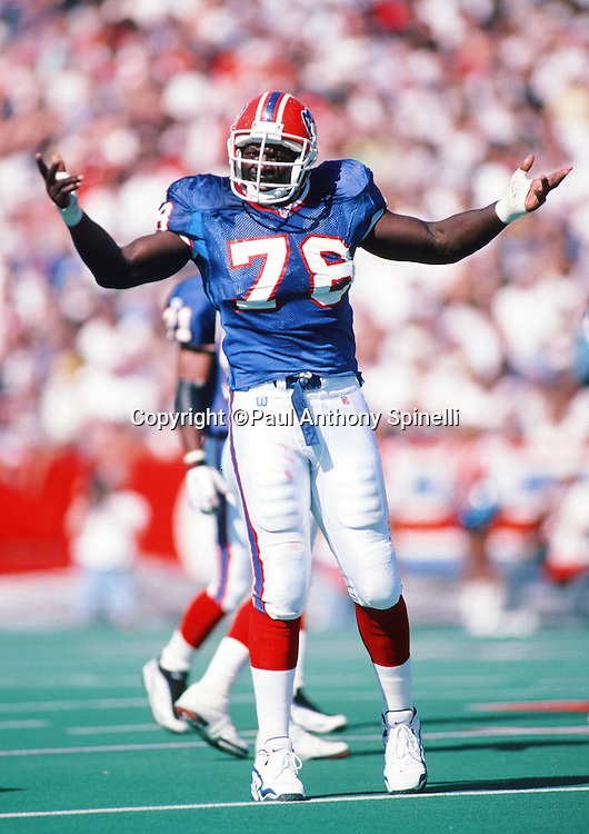 Buffalo Bills defensive end Bruce Smith (78) waves his arms during the NFL football game against the Detroit Lions on Oct. 5, 1997 in Orchard Park, N.Y. The Bills won the game 22-13. (©Paul Anthony Spinelli)