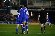Oldham Athletic midfielder Ryan Flynn (7) celebrates with Oldham Athletic Striker Aaron Ahmadi Holloway (10) after his assist for the second goal of the game during the EFL Sky Bet League 1 match between Oldham Athletic and Peterborough United at Boundary Park, Oldham, England on 24 January 2017. Photo by Simon Brady.
