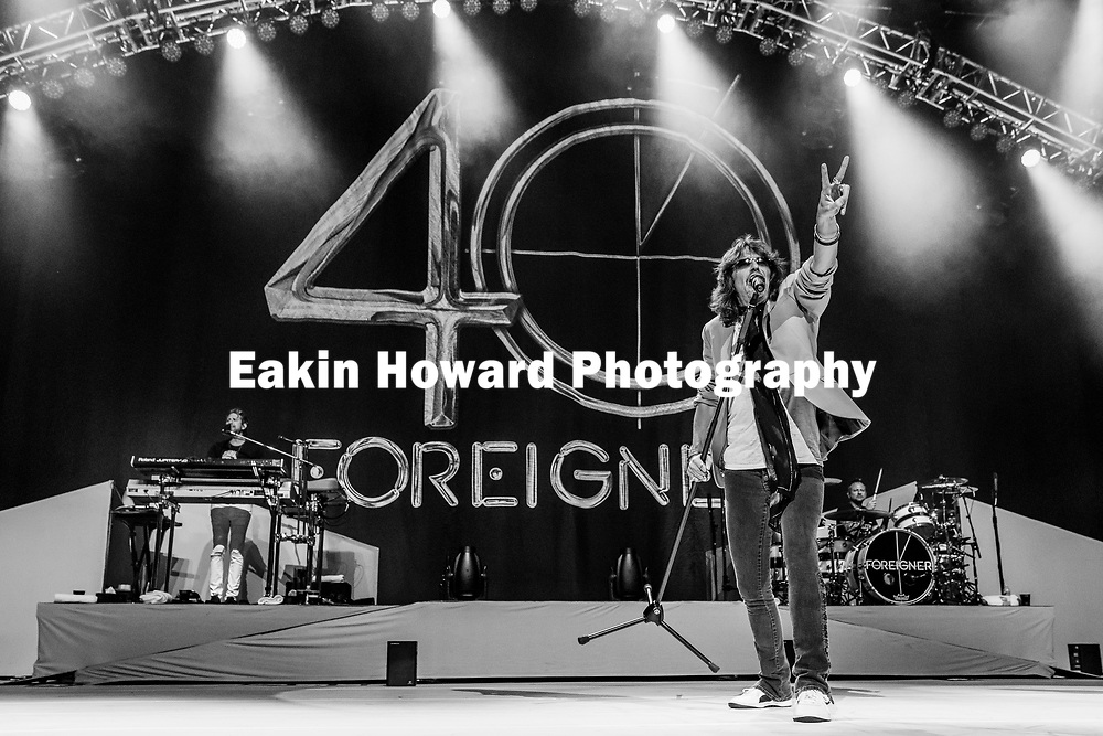 "Foreigner's Kelly Hansen sings ""Double Vision"" on the stage of the PNC Music Pavilion in Charlotte, NC on August 5, 2017. This concert was part of Foreigner's 40th Anniversary Tour."