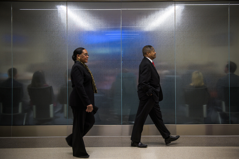 Ohio University President Roderick McDavis and his wife, Deborah McDavis, make their way to an unveiling ceremony held at the newly renovated McCracken Hall on February 9, 2017.