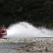 The Shotover Jet, World famous as the ultimate jet boating experience, in action on the Shotover River, Queenstown, New Zealand. 21st March 2011...