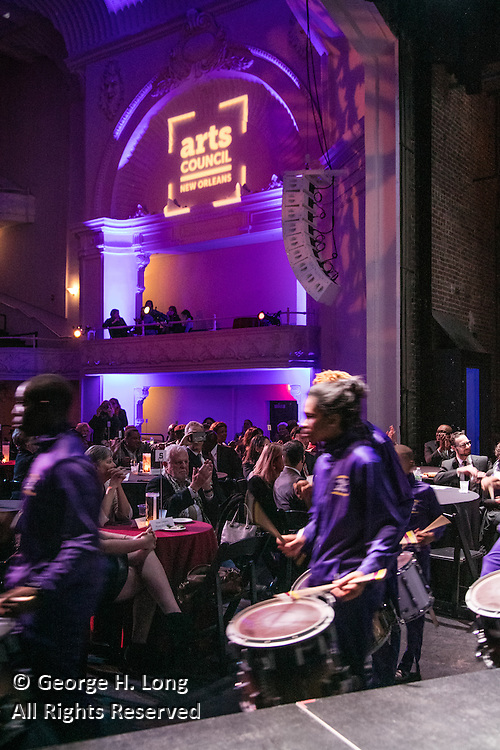 The Warren Easton band percussion section performs at the Arts Council New Orleans Community Arts Awards Celebration at the Civic Theatre December 2, 2015