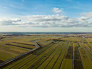 Nederland, Zuid-Holland, Gemeente Vlist, 20-02-2012; Krimpenerwaard met Polder Hoenkoop en Polder.Vlist-Oostzijde (links). Kenmerkend voor de inrichting van de polder zijn de regelmatig gevormde ontginningsblokken, zogeheten cope-ontginningen. Aan de horizon Gouda en de Reewijksche Plassen.Krimpenerwaard with various polders. Characteristic for the 'design' of the polder are the regularly shaped reclamation blocks, known as cope reclamations. .luchtfoto (toeslag), aerial photo (additional fee required);.copyright foto/photo Siebe Swart.