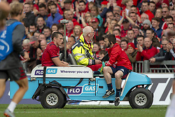 October 20, 2018 - Limerick, Ireland - Tommy O'Donnell of Munster leaves the pitch injured during the Heineken Champions Cup match between Munster Rugby and Gloucester Rugby at Thomond Park in Limerick, Ireland on October 20, 2018  (Credit Image: © Andrew Surma/NurPhoto via ZUMA Press)