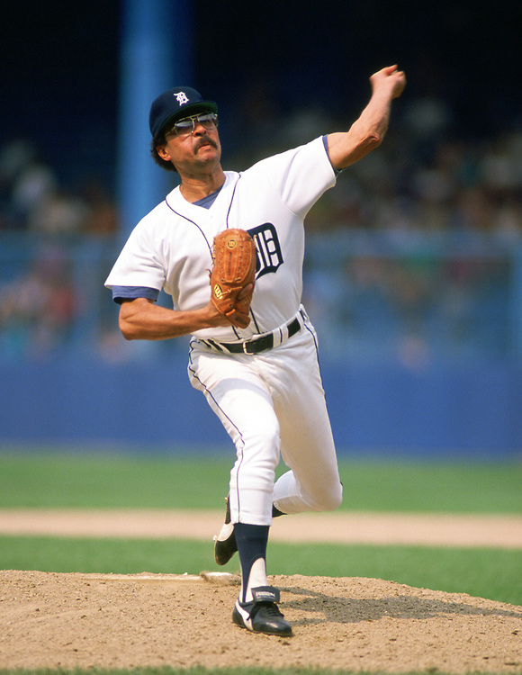 DETROIT - 1988:  Willie Hernandez of the Detroit Tigers pitches during an MLB game at Tiger Stadium in Detroit, Michigan during the 1988 season. (Photo by Ron Vesely).  Subject:   Willie Hernandez