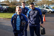 AFC Wimbledon attacker Shane McLoughlin (19), AFC Wimbledon defender Ryan Delaney (21) and AFC Wimbledon defender Rod McDonald (4) arriving for the game during the EFL Sky Bet League 1 match between AFC Wimbledon and Doncaster Rovers at the Cherry Red Records Stadium, Kingston, England on 14 December 2019.