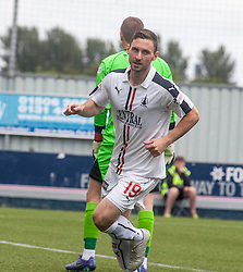 Falkirk's Bob McHugh cele scoring their first goal. Falkirk 6 v 1 Elgin City, Irn-Bru Challenge Cup Third Round, played 3/9/2016 at The Falkirk Stadium .