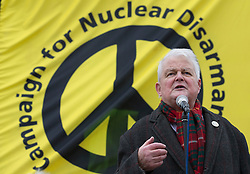 © Licensed to London News Pictures. 27/02/2016. London, UK. Veteran campaigner Bruce Kent speaks at a CND rally in Trafalgar Square. Thousands of protestors calling for the Trident nuclear deterrent to be scrapped have marched from Hyde Park to hear speeches from senior politicians and other campaigners. Photo credit: Peter Macdiarmid/LNP