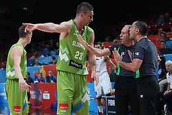 Alen Omic of Slovenia and referees during basketball match between Latvia and Slovenia at Day 8 in Round of 16 of FIBA Europe Eurobasket 2015, on September 12, 2015, in LOSC Lile stadium, Croatia. Photo by Marko Metlas / MN PRESS PHOTO / SPORTIDA