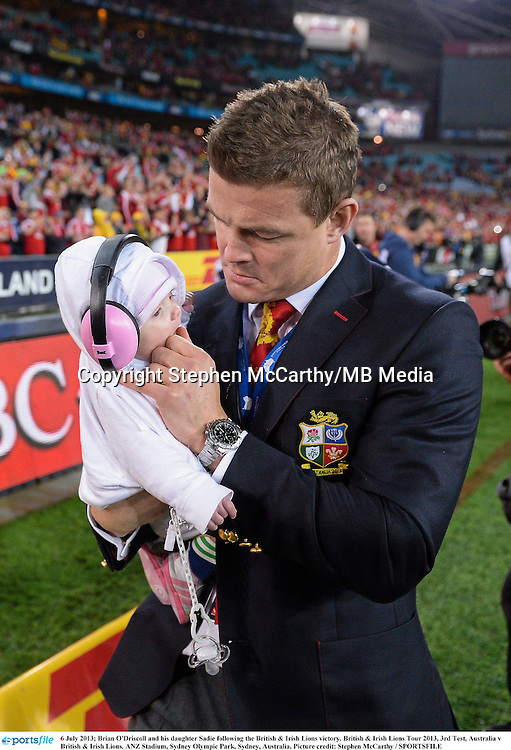 6 July 2013; Brian O'Driscoll and his daughter Sadie following the British & Irish Lions victory. British & Irish Lions Tour 2013, 3rd Test, Australia v British & Irish Lions. ANZ Stadium, Sydney Olympic Park, Sydney, Australia. Picture credit: Stephen McCarthy / SPORTSFILE