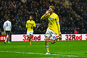 Patrick Bamford of Leeds United (9) scores a goal and celebrates to make the score 0-1 during the EFL Sky Bet Championship match between Preston North End and Leeds United at Deepdale, Preston, England on 9 April 2019.