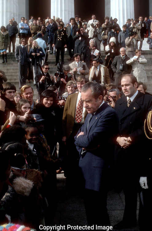 .President Richard Nixon at the Lincoln Memorial. Photo by Dennis Brack B 11