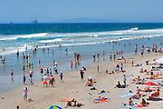 Huntington Beach Ca. Swimming, Oil Rig Platforms, Ca, Ocean Waves, People, Beach, Swimming, Tourist, travel