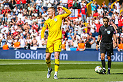 England goalkeeper Jordan Pickford (Everton) celebrates scoring from the penalty spot in the penalty shoot out during the UEFA Nations League 3rd place play-off match between Switzerland and England at Estadio D. Afonso Henriques, Guimaraes, Portugal on 9 June 2019.